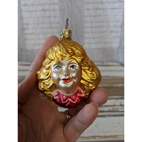 Inge Glas Blonde Angel Cherub Head Blown Glass Old